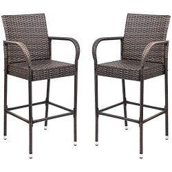 Homall Patio Bar Stools Wicker Barstools Indoor Outdoor Bar Stool Patio Furniture with Footrest  ...
