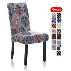 4 Pack Chair Slipcovers for Dining Room, Washable Spandex Dining Chair Covers Sets for Kitchen H ...