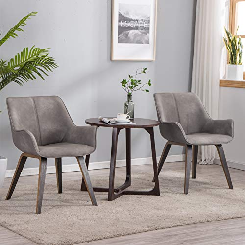 YEEFY Gray Leather Dining Room Chairs with arms Contemporary Dining Chairs Set of 2 (Ashen)