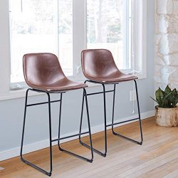 Rfiver PU Leather Bar Stools Dining Chairs Set of 2 with Back and Footrest in Antique Brown, Sui ...
