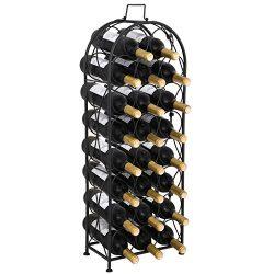 F2C 23 Bottles Wine Rack Stand Floor Wine Holder Metal Construction Free Standing Elegant French ...