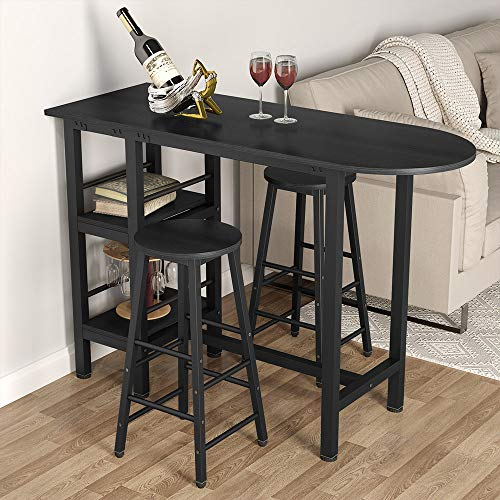 Tribesigns 3-Piece Pub Table Set with Storage Shelves, Counter Height Bar Table Set with 2 Stool ...