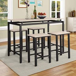 P PURLOVE 5Pcs Dining Table Set Modern Style Wooden Kitchen Table and 4 Chairs with Metal Legs,  ...