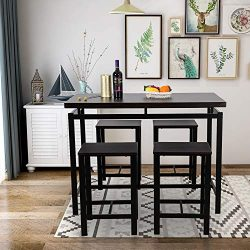 GLCHQ 5 Piece Pub Table Set, Dining Height Table Perfect for bar, Kitchen, Breakfast Nook, Dinin ...
