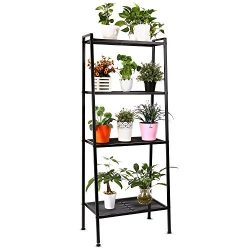 HOMFA Metal 4 Shelf Bookcase, Multifunctional Ladder-Shaped Plant Flower Stand Rack Bookrack Sto ...