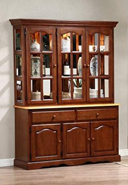 Sunset Trading DLU-22-BH-NLO Oak Selections Buffet and Hutch, Medium Walnut with Light Finish top