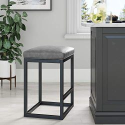 Nathan James 22101 Nelson Bar Stool with Leather Cushion and Metal Base, 24″, Gray/Black
