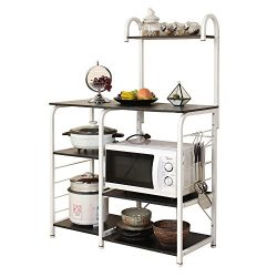 SogesPower Kitchen Baker's Rack 3-Tier+4-Tier Microwave Stand Storage Rack, Black