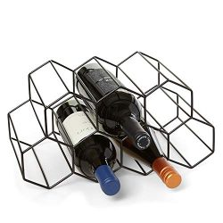 Countertop Wine Rack – 9 Bottle Wine Holder for Wine Storage – No Assembly Required  ...