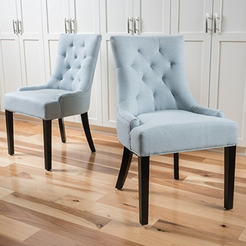 Christopher Knight Home 299539 Hayden Fabric Dining Chairs (Set of 2), Light Sky