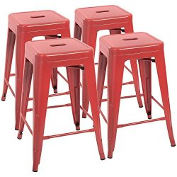 Devoko Metal Bar Stools 24″ Indoor Outdoor Stackable Barstools Modern Style Industrial Vin ...