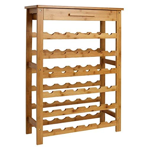 Kinsuite Bamboo Wine Rack Modular Wine Storage Holder Display Shelves for Storing Bottles at Hom ...