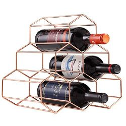 DCIGNA Metal Wine Rack Free Standing, Tabletop Gold Wine Rack, Countertop Wine Bottle Holder  ...