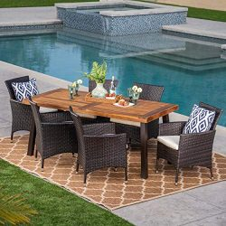 Great Deal Furniture 304312 Randy | Outdoor 7-Piece Acacia Wood and Wicker Dining Set with Cushi ...