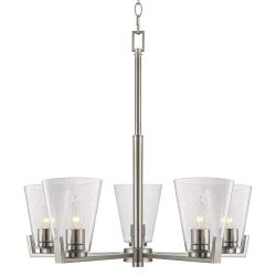 Kira Home Wiltern 22″ Modern 5-Light Chandelier + Seeded Glass Shades, Adjustable Chain, B ...