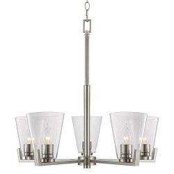 Kira Home Wiltern 22″ Modern 5-Light Chandelier + Seeded Glass Shades, Adjustable Chain, B ...