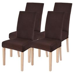 SearchI Dining Room Chair Covers Slipcovers Set of 4, Spandex Fabric Fit Stretch Removable Washa ...