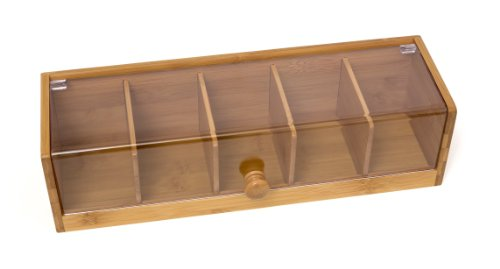 Lipper International 8187 Bamboo Wood and Acrylic Tea Box with 5 Sections, 14″ x 5″  ...