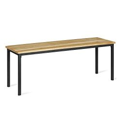 Novogratz DA8146B Linden Wood and Metal, Natural, Gray Dining Bench,