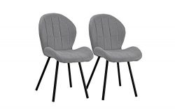 Upholstered Set of 2 Dining Chairs, 2 Piece Kitchen Chairs (Light Grey)
