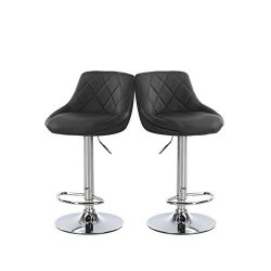 Bar Stools Set of 2 Balck Leather Bar Chairs Dining Stools, Computer Chair for Kitchen Island Co ...