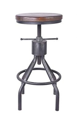 LOKKHAN Adjustable Round Wood and Metal Stool,Vintage Industrial Swivel Pipe Bar Stool,Cast Iron ...