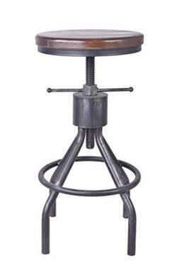 LOKKHAN Adjustable Round Wood and Metal Stool,Vintage Industrial Swivel Pipe Bar Stool,Cast Iron ...