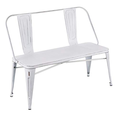 LumiSource Industrial Metal Dining Bench with Distressed Vintage White