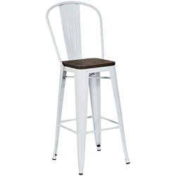 Pioneer Square Midvale 30-Inch Bar-Height Metal Stool with Back Rest, Set of 2, Winter White