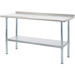 Rockpoint Carmona Tall NSF Stainless-Steel Commercial Kitchen Work Table with Backsplash and Adj ...