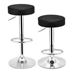 UMFun Set of 2 Leather Adjustable Bar Stools Counter Height Swivel Stool by Leopard Black