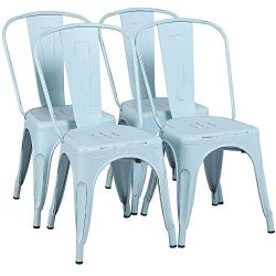 Yaheetech Metal Chairs Stackable Side Chairs Tolix Bar Chairs Kitchen Dining Room Chairs with Ba ...