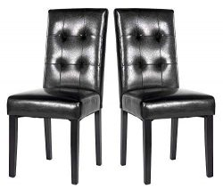 Dining Room Chairs Kitchen Chairs Black PU Leisure Chair with Solid Wood Legs (Set of 2)