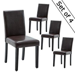 LSSBOUGHT Set of 4 Urban Style Leatherette Dining Chairs Brown Dining Room Chair with Solid Wood ...