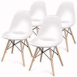 BUTII Set of 4 Retro Dining Chairs Mid Century Modern Durable PU Cushion with Solid Wooden Legs, ...