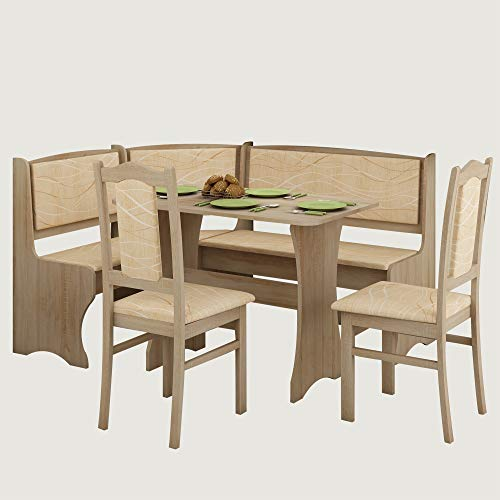 Furniture.Agency Breakfast Nook 4-Piece Set Multiple Finishes Corner Bench, Dining Table and 2 S ...