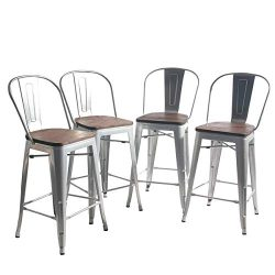 YongQiang Metal Barstools Set of 4 Indoor/Outdoor Bar Stools High Back Dining Chair Counter Stoo ...