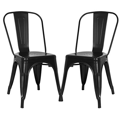 Poly and Bark Trattoria Patio and Dining Metal Side Chair in Black (Set of 2)