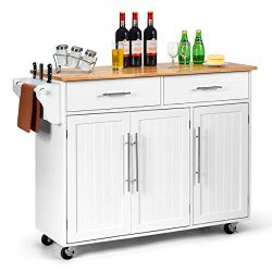 Giantex Kitchen Island Cart Rolling Storage Trolley Cart with Lockable Castors, 2 Drawers, 3 Doo ...