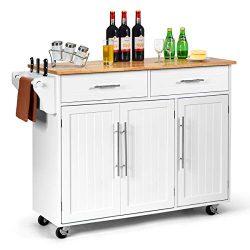 Giantex Kitchen Island Cart Rolling Storage Trolley Cart with Lockable Castors, 2 Drawers, 3 Doo ...