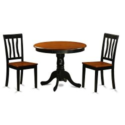 East West Furniture ANTI3-BLK-W 3 Piece with 2 Solid Wood Chairs Antique Dining Set