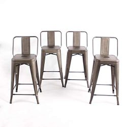 Buschman Set of 4 Bronze 24 Inch Counter Height Metal Bar Stools with Medium Back Indoor Outdoor