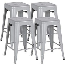 """Yaheetech 24"""" Metal Bar Stools Counter Height Barstools Set of 4 High Backless Industrial  ..."""