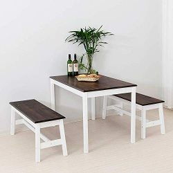 Mecor Wood Dining Table with 2 Benches/3 Piece Kitchen Set (Coffee)