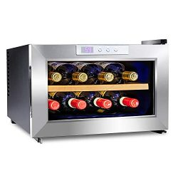 Ivation Premium Stainless Steel 8 Bottle Horizontal Thermoelectric Wine Cooler/Chiller Counter T ...