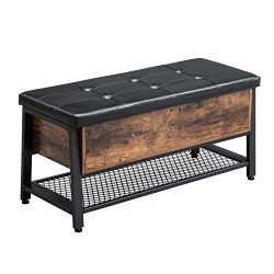 VASAGLE Industrial Storage Bench, Shoe Bench with Padded Seat and Metal Shelf, Multifunctional S ...