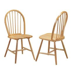 Giantex Set of 2 Windsor Chairs, Country Wood Chairs, Vintage Armless Dining Room Furniture, Nos ...