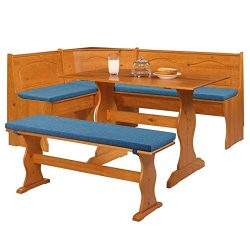 MISC 4pc Blue Dining Nook Cushions Set Breakfast Nook Chair Pads Solid Trestle Short Long Bench  ...