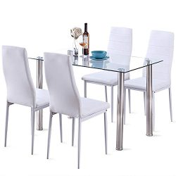 5 Pcs Modern Tempered Glass White Dining Room Table Set with 4 High Back Faxu Leather Dinning Chairs