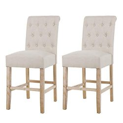 NOBPEINT Fabric Upholstered Barstool Dining Chair Solid Wood Legs 24″, Tan(Set of 2)